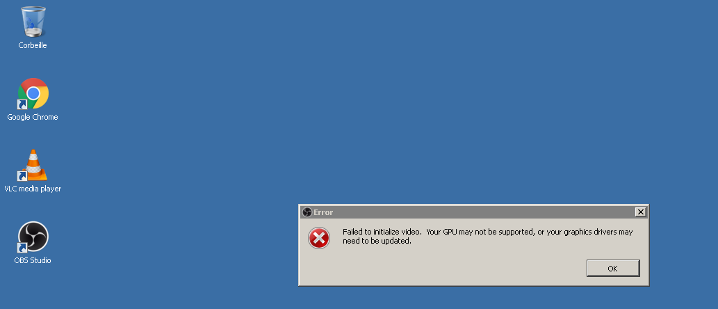 Video driver failed to initialize