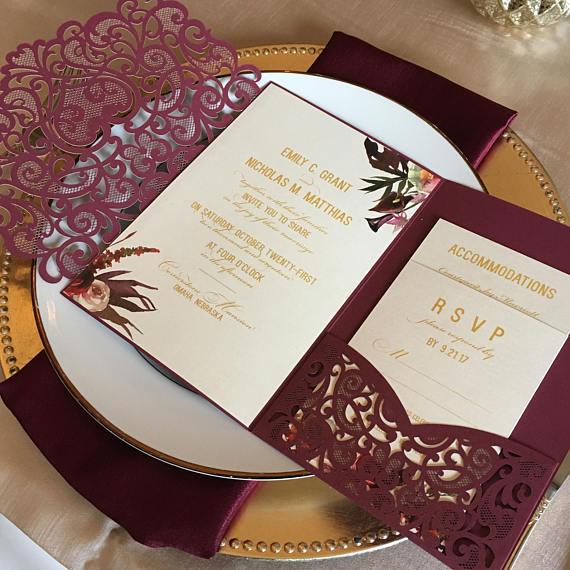 تصاميم دعوات زفاف مميزة انيقة