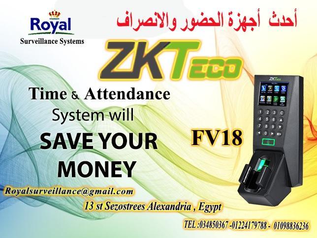 ساعات حضور وانصراف ماركة ZKTeco موديل FV18   909483498
