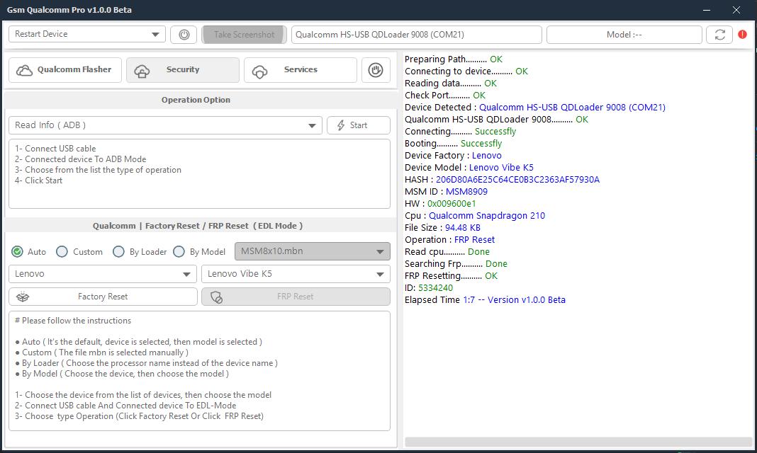 Gsm Qualcomm Pro Lenovo Vibe K5 \ FRP Reset